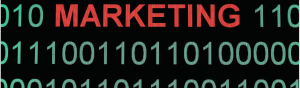 marketing in red with binary surrounding